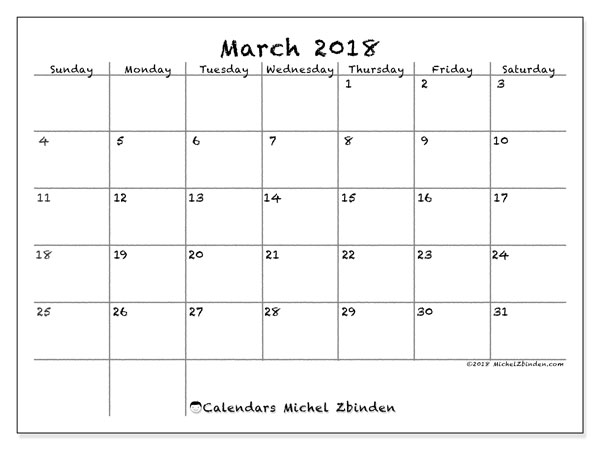 Calendar March 2018 (77SS). Calendar to print free.