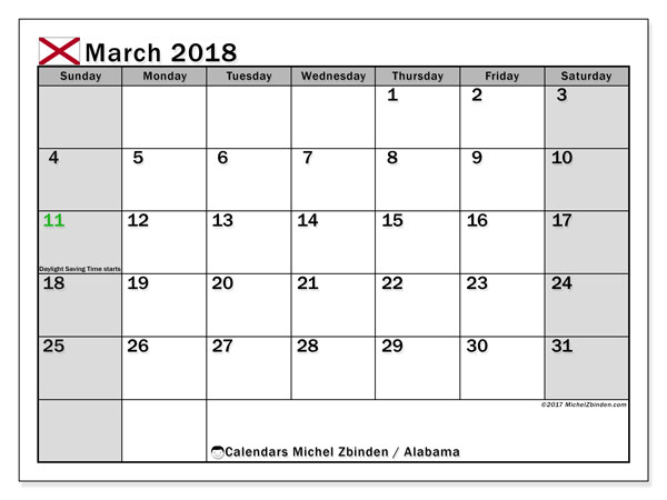 Calendar March 2018, with the holidays of Alabama. Free planner to print.