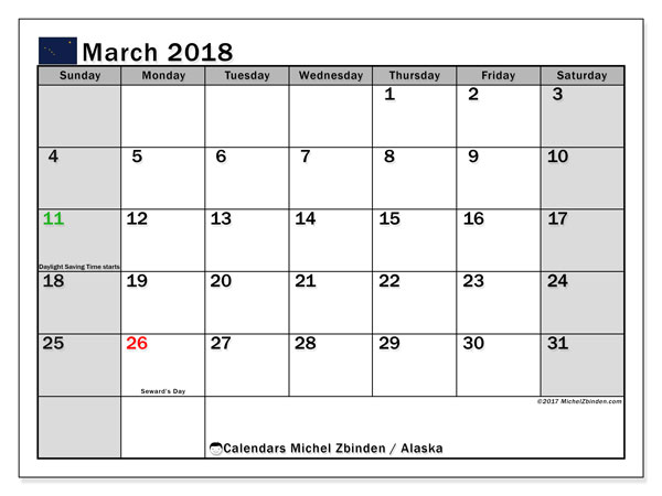 Calendar March 2018, with the holidays of Alaska. Monthly calendar to print free.