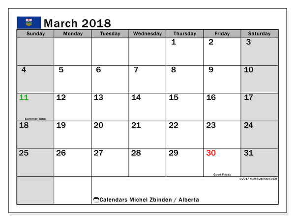 Calendar March 2018, with the holidays of Alberta. Bullet journal to print free.