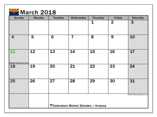 Calendar March 2018, with the holidays of Arizona. Free printable planner.