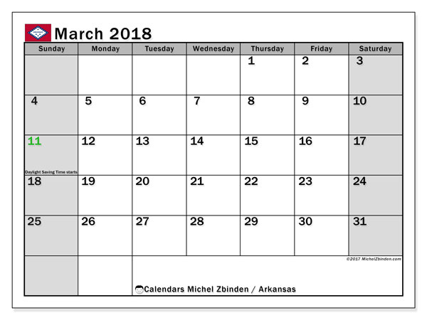 Calendar March 2018, with the holidays of Arkansas. Free printable planner.