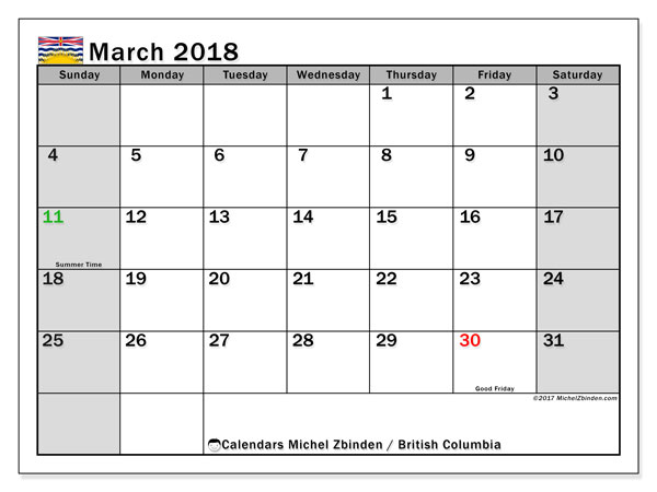 Calendar March 2018, with the holidays of British Columbia. Free printable calendar.