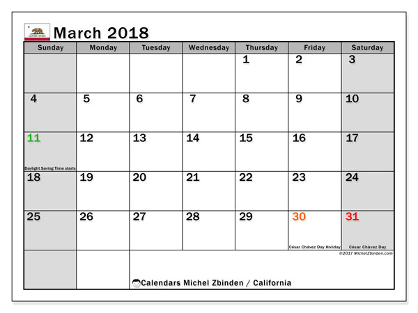 Calendar March 2018, with the holidays of California. Monthly calendar to print free.