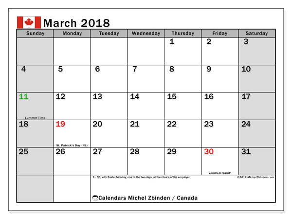 Calendar March 2018, with the holidays of Canada. Calendar to print free.