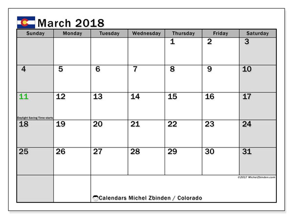 Calendar March 2018, with the holidays of Colorado. Free printable monthly planner.