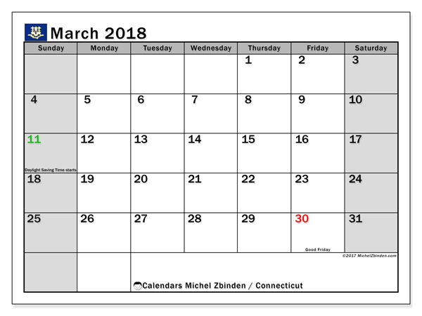 Calendar March 2018, with the holidays of Connecticut. Calendar to print free.