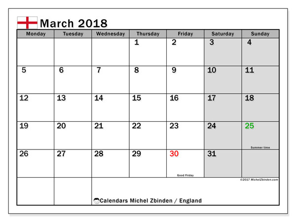 Calendar March 2018, with the holidays of England. Free printable bullet journal.