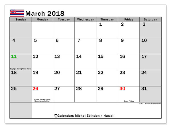 Calendar March 2018, with the holidays of Hawaii. Free printable bullet journal.