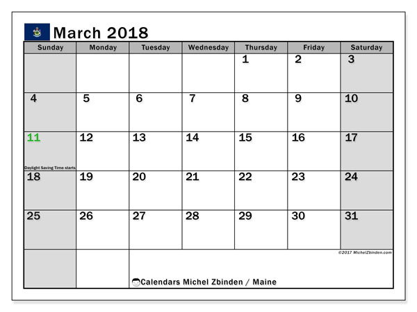 Calendar March 2018, with the holidays of Maine. Free planner to print.