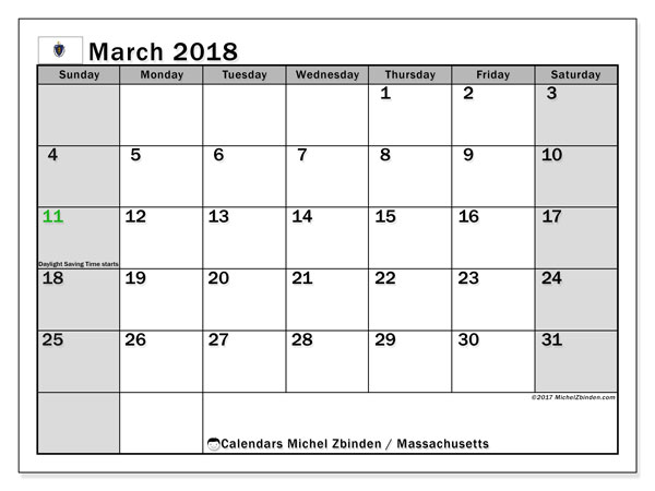 Calendar March 2018, with the holidays of Massachusetts. Calendar to print free.