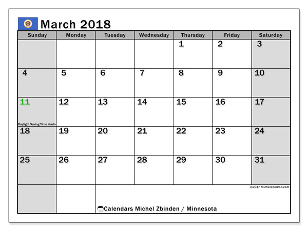 Calendar March 2018, with the holidays of Minnesota. Calendar to print free.
