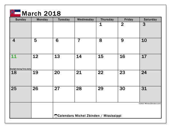 Calendar March 2018, with the holidays of Mississippi. Monthly planner to print free.
