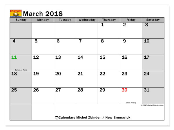Calendar March 2018, with the holidays of New Brunswick. Calendar for the month to print free.