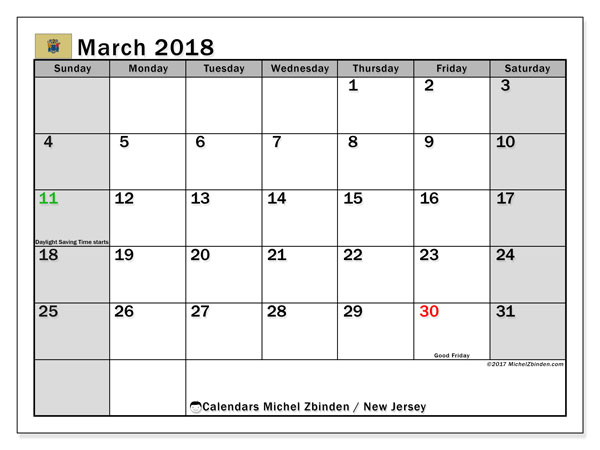 Calendar March 2018, with the holidays of New Jersey. Planner to print free.