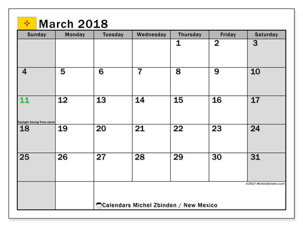 Calendar March 2018, New Mexico