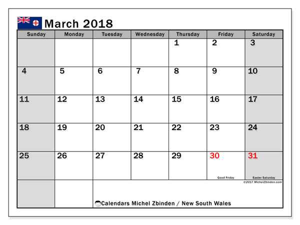 Calendar March 2018, with the holidays of New South Wales. Monthly planner to print free.