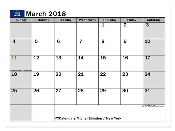Calendar March 2018, with the holidays of New York. Free printable calendar.