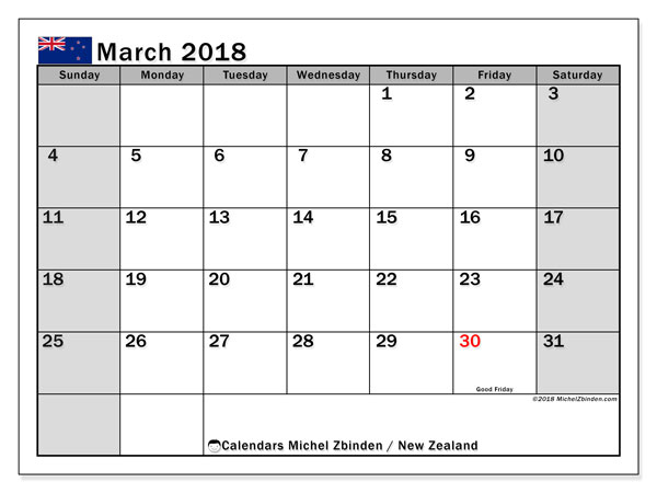 Calendar Planner Nz : Calendar march new zealand michel zbinden en