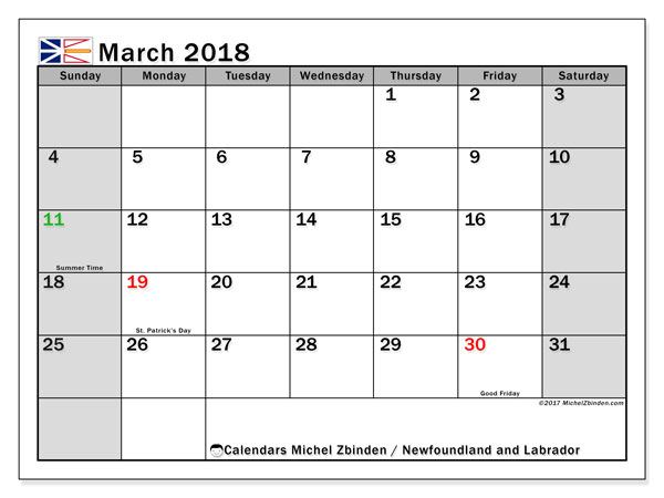 Calendar March 2018, with the holidays of Newfoundland and Labrador. Free planner to print.