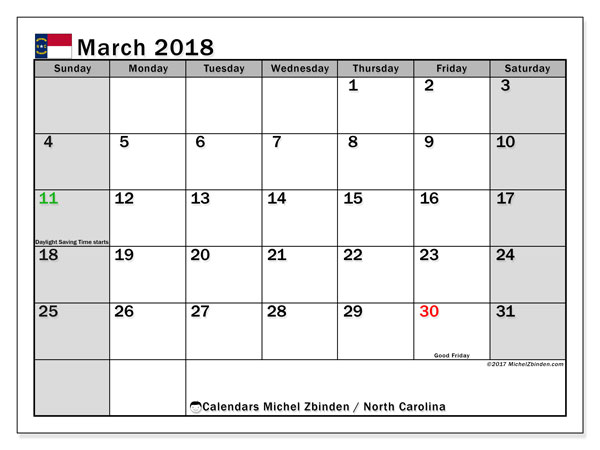 Calendar March 2018, with the holidays of North Carolina. Bullet journal to print free.