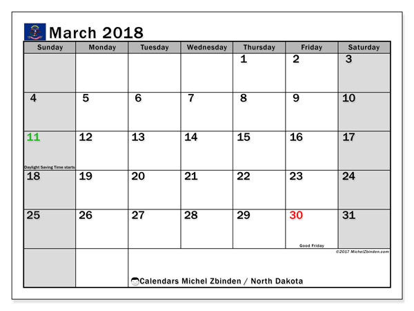 Calendar March 2018, with the holidays of North Dakota. Calendar to print free.