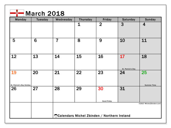 Calendar March 2018, with the holidays in Northern Ireland. Bullet journal to print free.