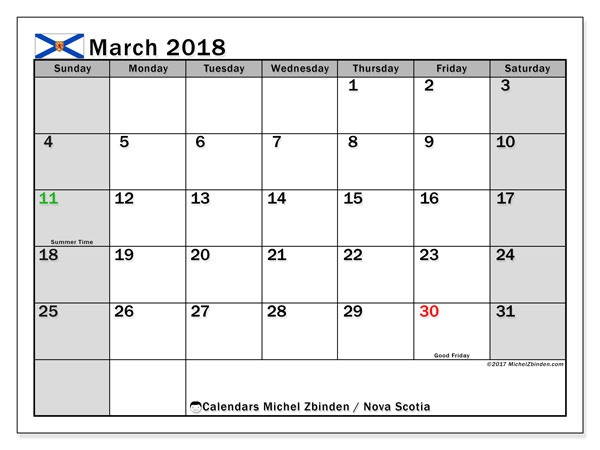 Calendar March 2018, with the holidays of Nova Scotia. Bullet journal to print free.
