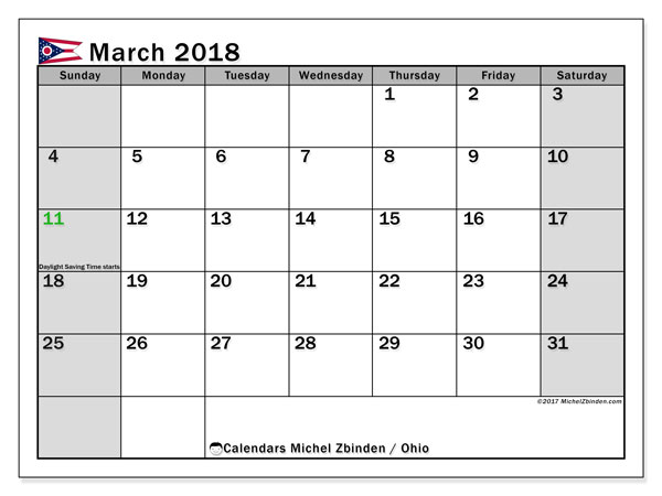 Calendar March 2018, with the holidays of Ohio. Free printable monthly planner.