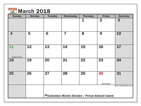 Calendar March 2018, with the holidays of Prince Edward Island. Free printable planner.