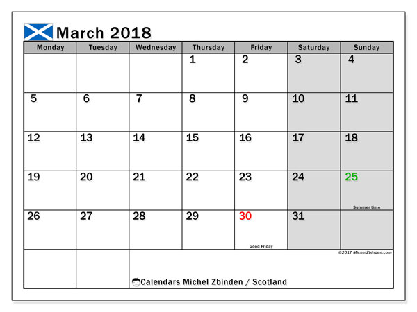 Free printable calendar March 2018, with the holidays of Scotland. Monthly calendar