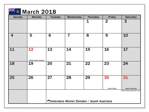 Free printable calendar March 2018, with the holidays of South Australia. Monthly calendar