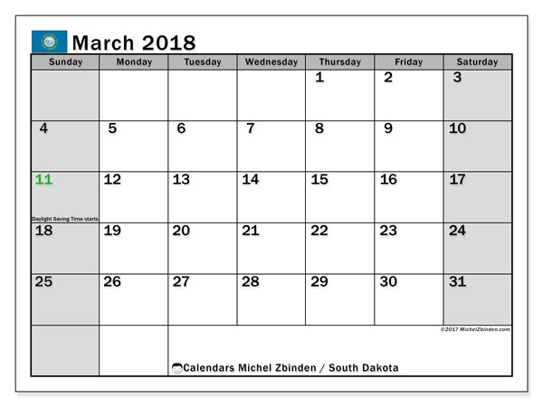 Calendar March 2018, with the holidays of South Dakota. Free planner to print.