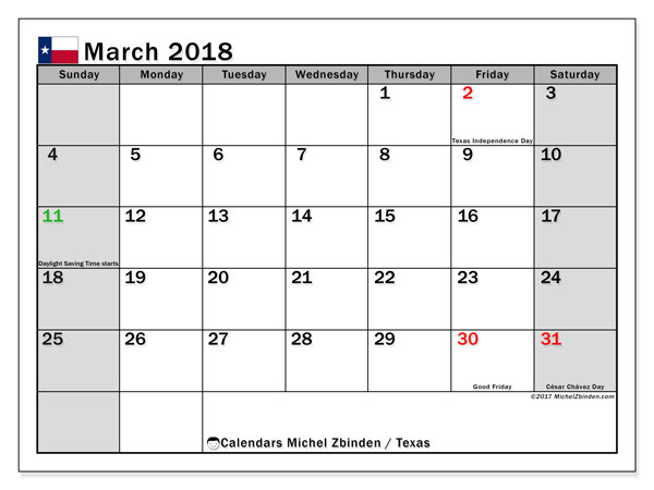 Calendar March 2018, with the holidays of Texas. Monthly planner to print free.