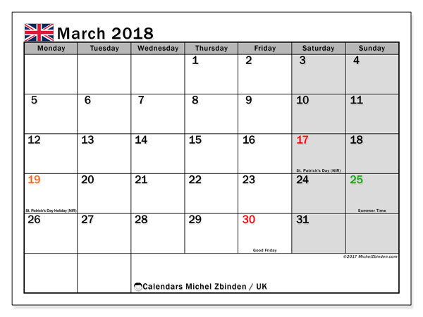 Calendar March 2018, with the holidays of the UK. Calendar to print free.