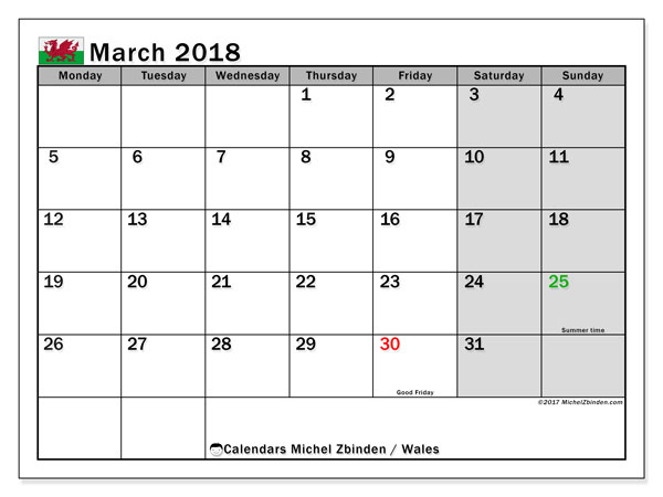 Calendar March 2018, with the holidays of Wales. Planner to print free.