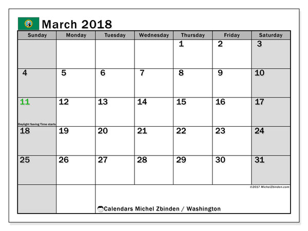 Calendar March 2018, with the holidays of Washington. Free calendar to print.