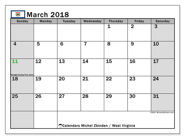 Calendar March 2018, with the holidays of West Virginia. Bullet journal to print free.