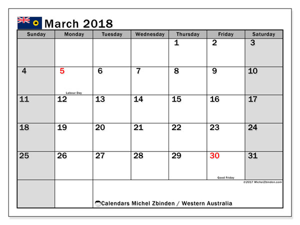 Calendar March 2018, with the holidays of Western Australia. Free printable monthly calendar.