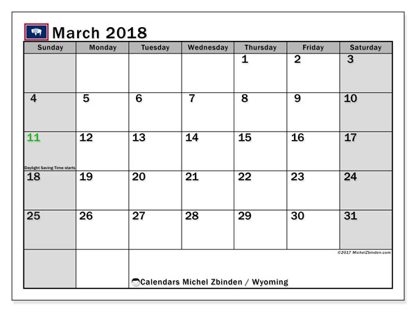 Calendar March 2018, with the holidays of Wyoming. Monthly planner to print free.