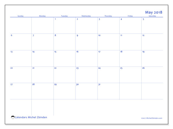 Calendar May 2018 (55SS). Free printable planner.