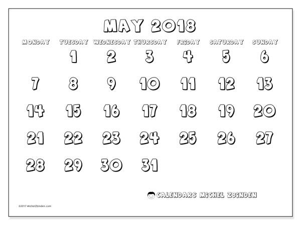 print calendar may 2018
