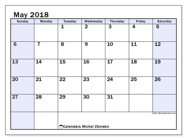 Calendar May 2018 (57SS). Calendar for the month to print free.