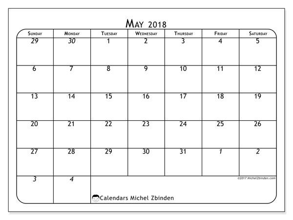 Calendar  May 2018, 67SS