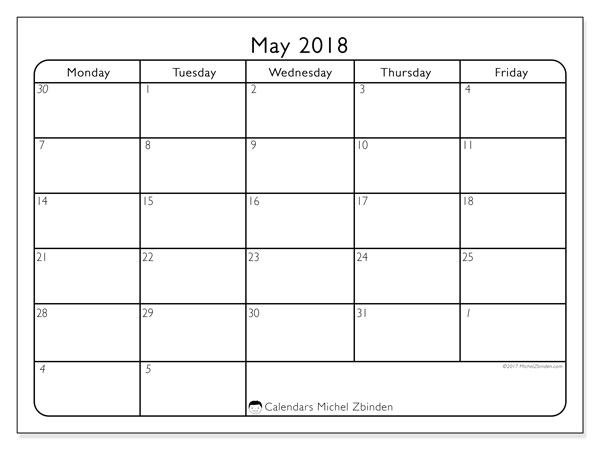 Calendar May 2018 (74SS). Free printable calendar.