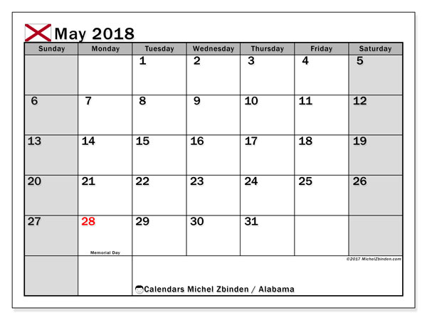 Calendar May 2018, with the holidays of Alabama. Free bullet journal to print.