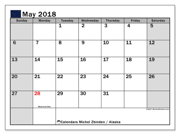 Calendar May 2018, with the holidays of Alaska. Monthly planner to print free.