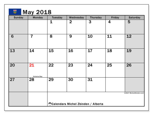 Calendar May 2018, with the holidays of Alberta. Free printable planner.