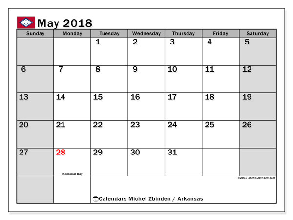 Calendar May 2018, with the holidays of Arkansas. Free printable monthly calendar.
