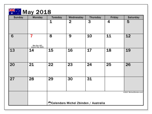 Calendar May 2018, with the holidays of Australia. Bullet journal to print free.